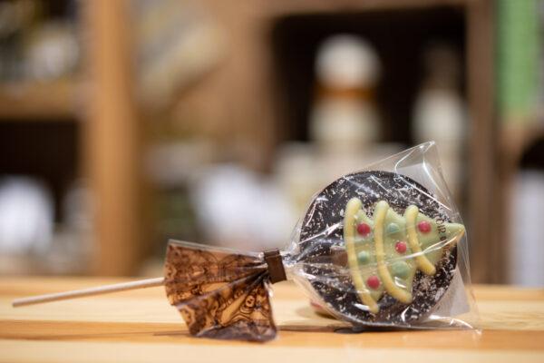 Sucette chocolat noir - Noël