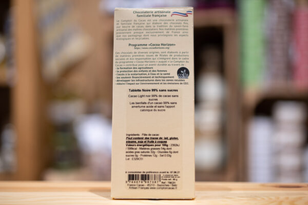 Tablette chocolat - Noir 99%
