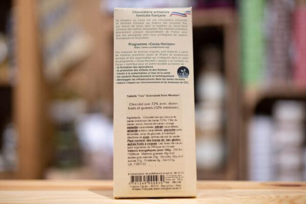 Tablette chocolat - Noir 72% - Mendiant